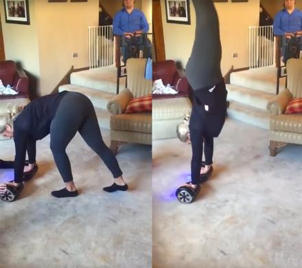 Mom Shows Son How To Do a Handstand On a Hoverboard, Doesn't Go So Well