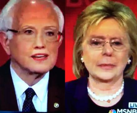 Someone Did a Face Swap of Bernie Sanders and Hillary Clinton During a Debate, and It