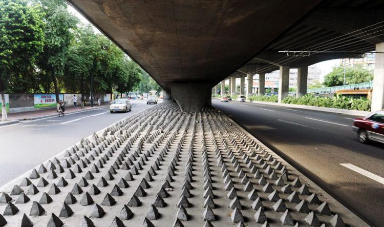 Homeless Deterrent Highway Underpass