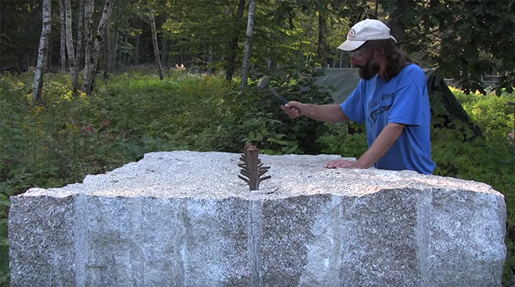 Guy Cuts Massive Stone In Half With Hammer and Stakes