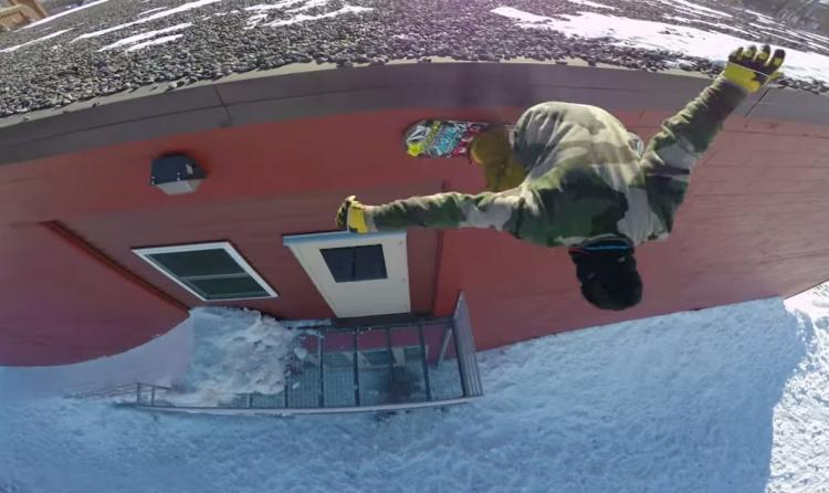 Snowboarder uses winch in the urban midwest